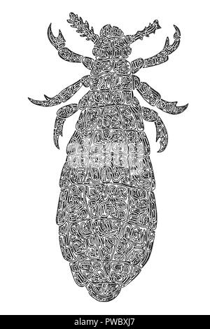 Illustration of a Louse, black and white, digital drawing, maze lines - Stock Photo