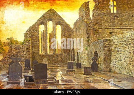 A textured scene of Cong Abbey in the village of the same name straddling the County Galway and County Mayo borders in Ireland. - Stock Photo