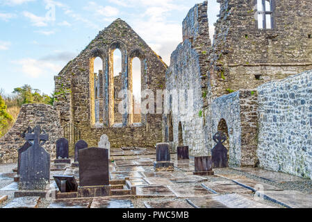 Cong Abbey in the village of the same name straddling the County Galway and County Mayo borders in Ireland. The abbey dates back to the 12th Century. - Stock Photo