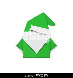 Green origami elf. Christmas decoration toy from paper - Stock Photo