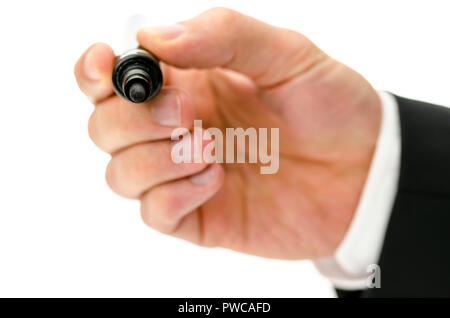 Closeup of male hand writing on virtual white board with black marker. Empty space ready for your text or logo. - Stock Photo