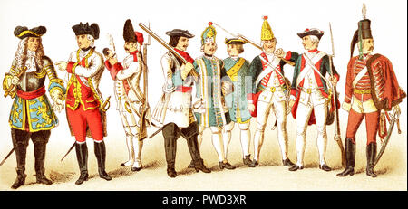 The Figures represented here are all Germans and are, from left to right: an Austrian general in 1700; an Austrian general in 1770, an Austrian grenadier in 1748, a Brandenberg cuirassier in 1700, a Prussian infantry musician in 1704,  a Prussian artillery man in 1708, a Prussian grenadier in 1756, a Prussian infantry in 1741, and a Hussar. The illustration dates to 1882. - Stock Photo