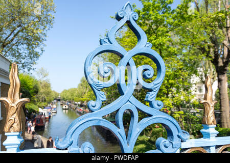 Bridge over The Grand Union Canal, Little Venice, Maida Vale, City of Westminster, Greater London, England, United Kingdom - Stock Photo