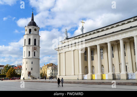 Vilnius Cathedral and bell tower, Vilnius, Lithuania - Stock Photo
