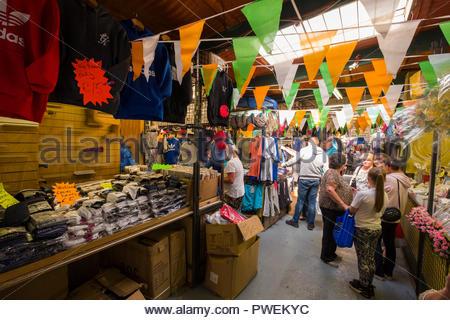People shopping inside Liberty Market, Meath Street, The Liberties, Dublin, Leinster, Ireland - Stock Photo