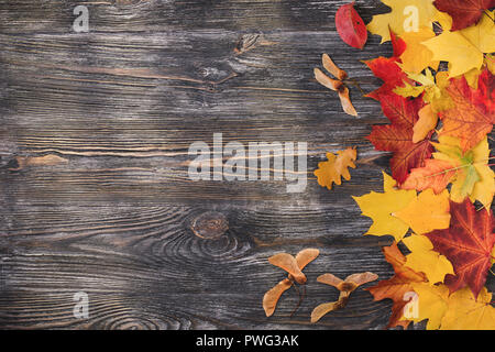Autumn wooden background with yellow leaves. Top view with copy space. - Stock Photo