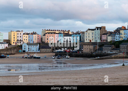 Tenby Colourful Houses and harbour at Sunset, Pembrokeshire, Wales, UK - Stock Photo