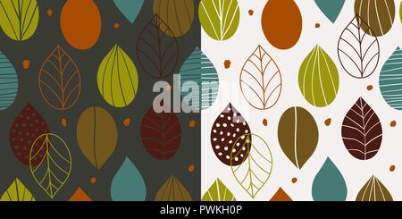 Two seamless autumn patterns with abstract leaves in primitive style on light and dark background. Fall inspired wallpapers in scandinavian style. - Stock Photo