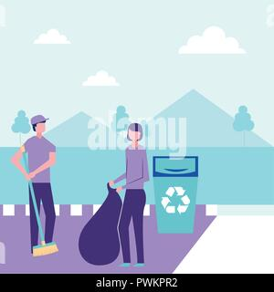 volunteers help couple collecting recyclable things vector illustration - Stock Photo