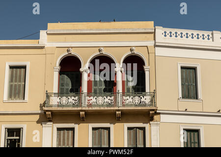 Shophouse, Streets & Sites of Heraklion, Crete, Greece, Located above the Indigo Coffee Shop, traditional apartment house above commercial businesses. - Stock Photo