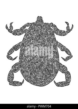 Illustration of a Tick, black and white, drawing, maze lines - Stock Photo