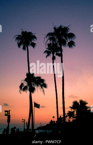 Silhouetted People and Palm Trees on the Beach at Sunset in Southern California - Stock Photo