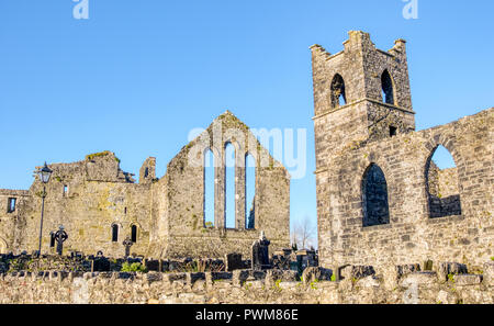 Cong Abbey in the village of the same name, straddling the County Galway and County Mayo borders in Ireland. The abbey dates back to the 12th Century. - Stock Photo