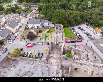 An aerial view of  Cong Abbey in the village of Cong, straddling the County Galway and County Mayo borders in Ireland. - Stock Photo