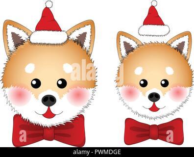 Shiba Inu Santa Claus Dog. isolated on White Background. Vector Illustration. - Stock Photo