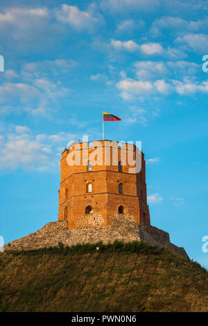 Castle tower Vilnius, view of the 13th century castle tower sited on top of Gediminas Hill in the Old Town quarter of Vilnius, Lithuania. - Stock Photo