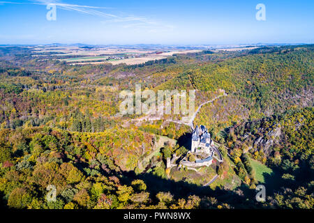 Aerial view of Eltz castle in Germany - Stock Photo