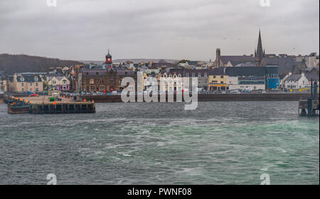 Waterfront of Stornoway viewn from a ferry, Stornoway, Isle of Lewis, Outer Hebrides, Western Isle, Scotland, Uk - Stock Photo
