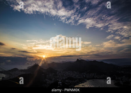 Night view of Copacabana beach, Urca and Botafogo from Sugar Loaf in Rio de Janeiro Brazil - Stock Photo