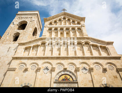 Neo Gothic facade of Cagliari Cathedral of Saint Mary. built by Pisani in the thirteenth century, which has undergone profound changes over the centur - Stock Photo