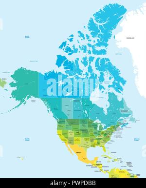 Color map of the USA and Canada detailed vector illustration - Stock Photo