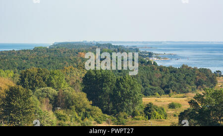 Hel Peninsula and the Baltic Sea, view from the top of the tower in Wladyslawowo. Poland - Stock Photo