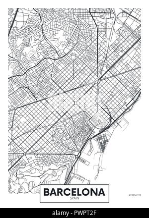 Vector poster map city Barcelona detailed plan of the city, rivers and streets - Stock Photo