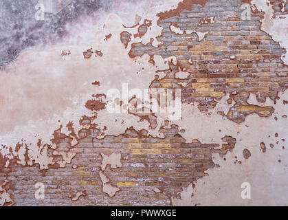 Grunge background red old brick wall texture bright plaster wall abandoned exterior Urban background for your concept or project Copy space Graphical  - Stock Photo
