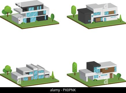 Set of isometric four houses and modern houses design, 3D modern building and architecture with ground, Vector collection of 3D home illustration on w - Stock Photo