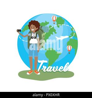 woman with camera and travel around the world - Stock Photo