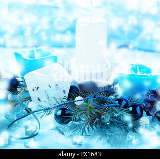 The Silver and blue Christmas balls and gifts on cool glitter lighting background - Stock Photo