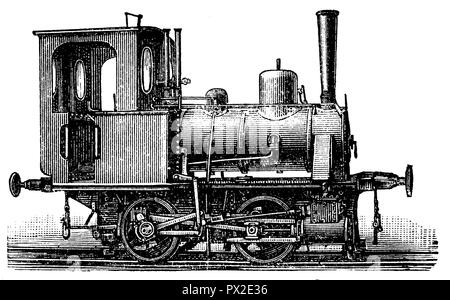 Two-axle locomotive for narrow gauge and small trains,   1898 - Stock Photo