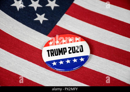 close up of election campaign button on American flag for Trump in year 2020 - Stock Photo