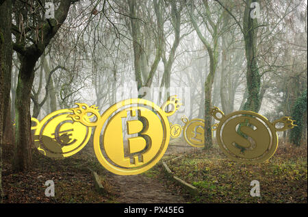 coin bears lost in foggy forest at the bottom of the valley. bearish currency descending trend. creepy deep autumn scenery. horror Halloween trading c - Stock Photo
