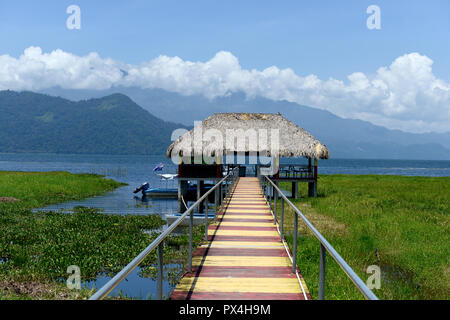 Thatched boathouse, Lake Yojoa, Honduras - Stock Photo