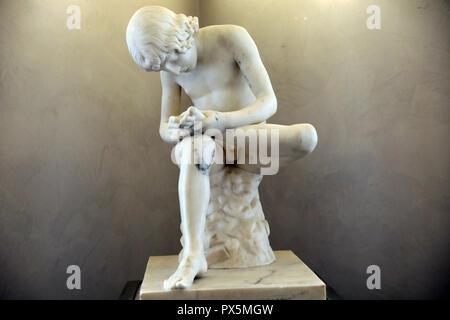 MusŽe des Beaux-Arts, Lyon, France. Fine Art museum, Lyon, France. Abel Dimier, Boy with thorn, Marble. - Stock Photo