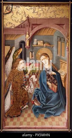 MusŽe des Beaux-Arts, Lyon, France. Fine Art museum, Lyon, France. Rhine. The Annunciation, c. 1460. - Stock Photo