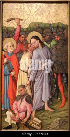 MusŽe des Beaux-Arts, Lyon, France. Fine Art museum, Lyon, France. Rhine. The kiss of Judas, c. 1460. - Stock Photo