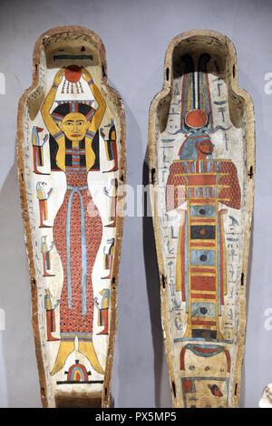 MusŽe des Beaux-Arts, Lyon, France. Fine Art museum, Lyon, France. Egyptian sarcophagus. - Stock Photo