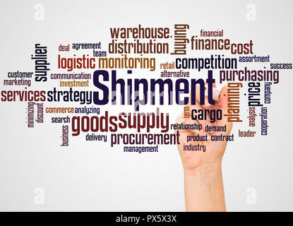 Shipment word cloud and hand with marker concept on white background. - Stock Photo