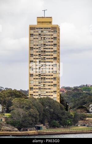 Landmark Harry Seidler Blues Point Tower iconic residential apartment block on Lavender Bay Sydney NSW Australia. - Stock Photo