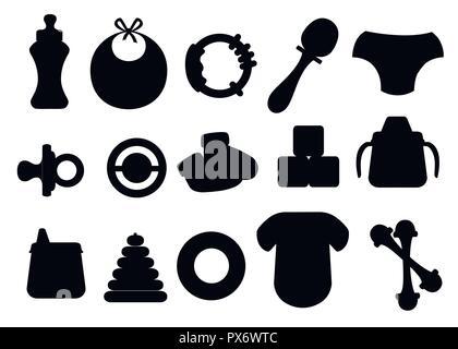 Black silhouette. Baby icons set. Baby toys, bottles and soother symbols. Collection template elements for newborn kids. Flat vector illustration isol - Stock Photo