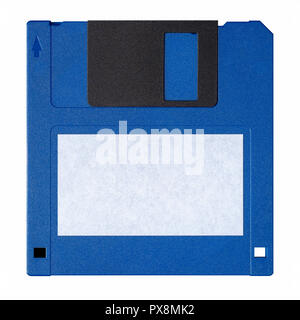 Standard blue floppy disk isolated on white background - Stock Photo