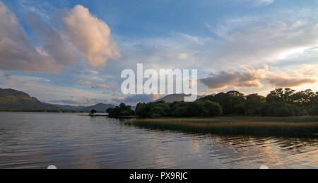 Irish Twilight Sunset over Lough Leane (Lake Leane) on the Ring of Kerry in Killarney Ireland - Stock Photo