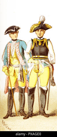 The Figures represented here are both Germans in 1700s and are, from left to right: an officer of dragoons and a general of cuirassiers. The illustration dates to 1882. - Stock Photo