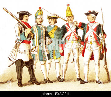 The Figures represented here are Germans and Prussians and are, from left to right: a Brandenberg cuirassier in 1700, a Prussian infantry musician in 1704,  a Prussian artillery man in 1708, a Prussian grenadier in 1756, and a Prussian infantry in 1741 The illustration dates to 1882. - Stock Photo