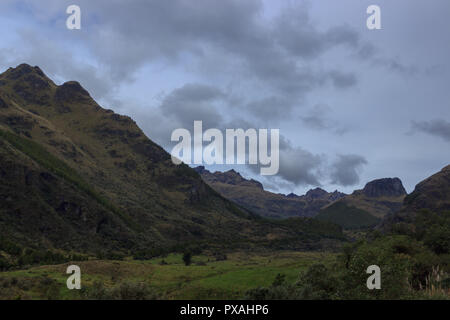 Cajas National Park is a national park in the highlands of Ecuador, it lays between 3100m and 4450m above sea level offers a tundra vegetation.It is l - Stock Photo