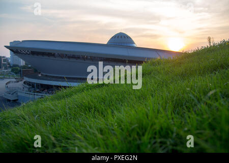 Katowice, Poland: multipurpose hall Spodek built in the shape of a flying saucer in the early seventies of the 20th century. The landmark of the city - Stock Photo