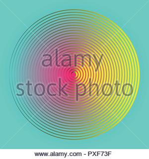 foggy circular symbol with concentric waves in pink yellow blue - Stock Photo