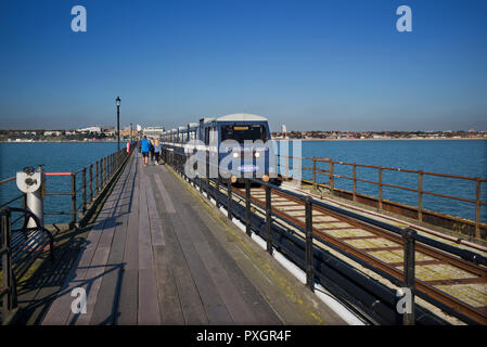 Southend on Sea, Essex, England, UK. Oct 2018 Southend Pier is a major landmark in Southend-on-Sea. Extending 1.34 miles (2.16 km) into the Thames Est - Stock Photo